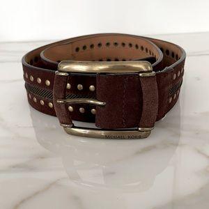 Michael Kors Brown Suede Brass Leather Boho Belt